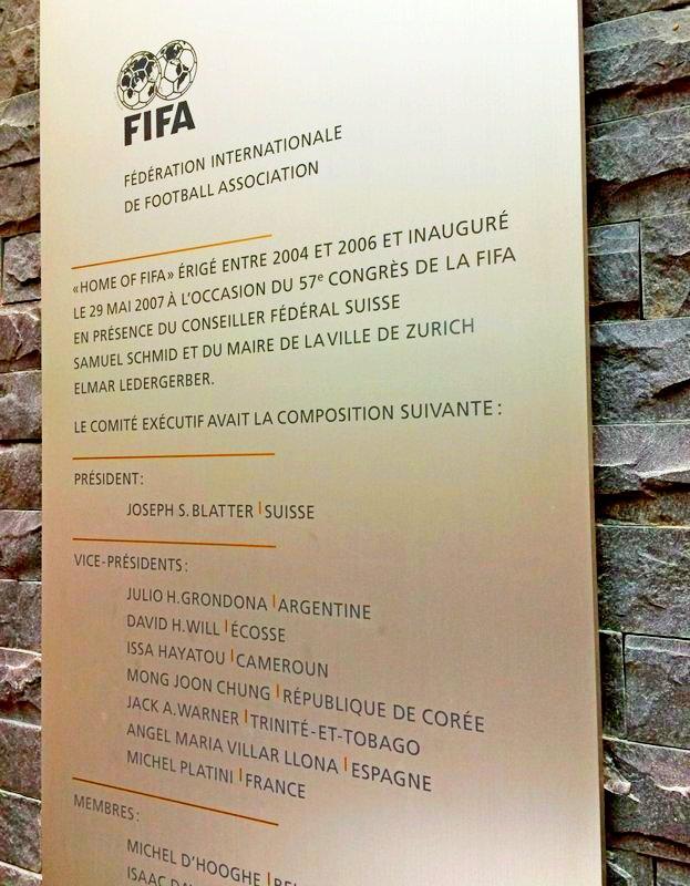 ФИФА демонтировала памятную табличку сфамилией Блаттера