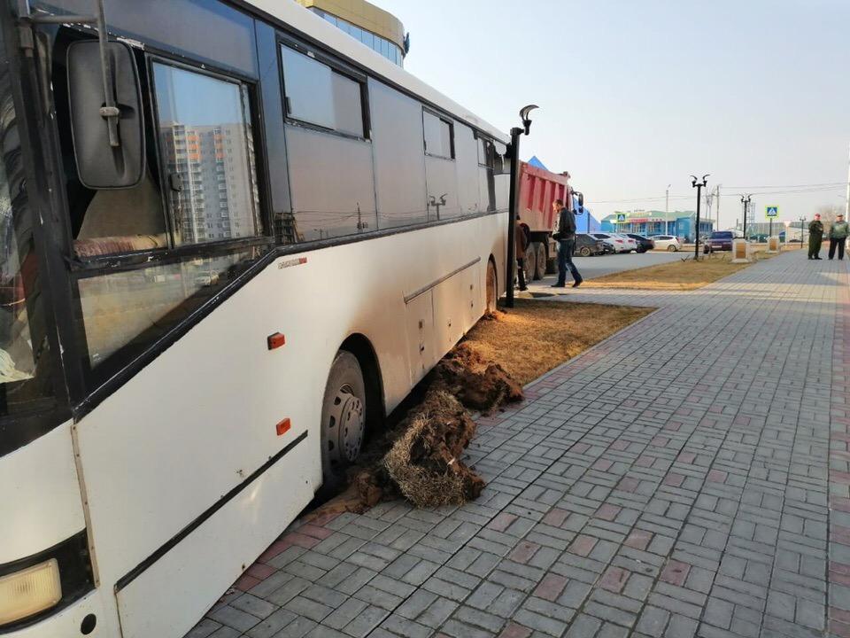 В Волжском частный автобус разворотил тротуар и разрушил систему полива
