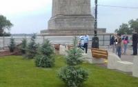 Севастопольскую набережную Волгограда украсили голубые ели